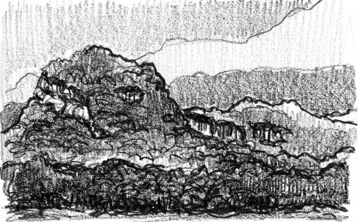 A conceptual landscape sketch of a mountain on the left side of the composition with a mountain range in the background.