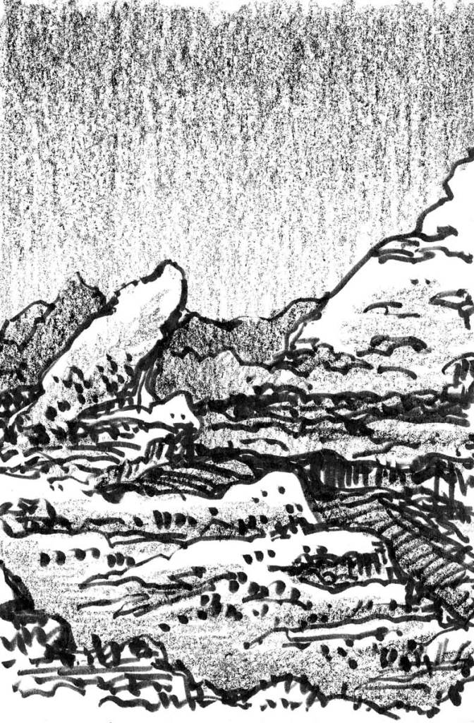 A conceptual landscape sketch with a rocky monolith rising from the left hand of the composition with mountains in the background.