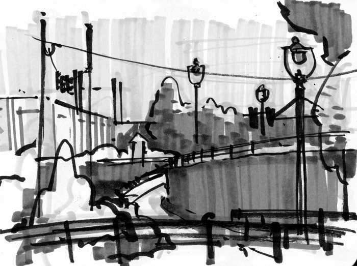 A loose greyscale marker sketch of a park, including meandering paths and lightpoles.