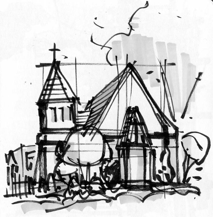 A loose marker sketch of a chapel with black line and light grey shading.