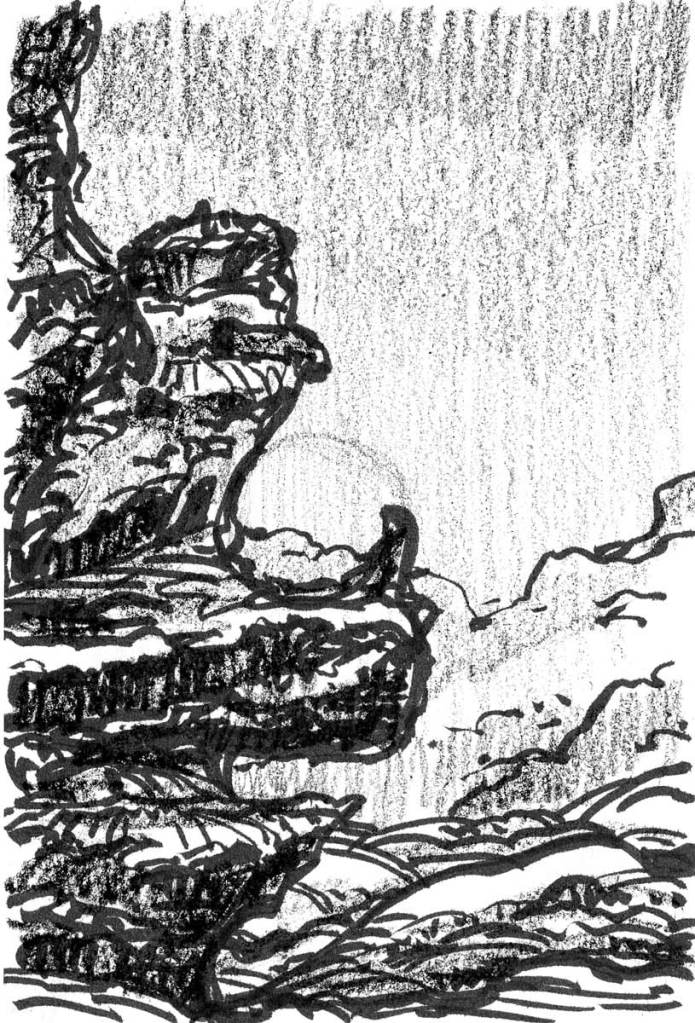 A brush pen and crayon sketch of a conceptual landscape, dominated by a cliff on the left side of the composition.