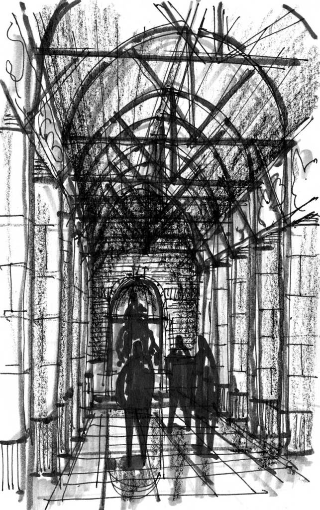 A loose conceptual sketch of a hallway with pillars on both sides and a focal statue at the end of the hallway.