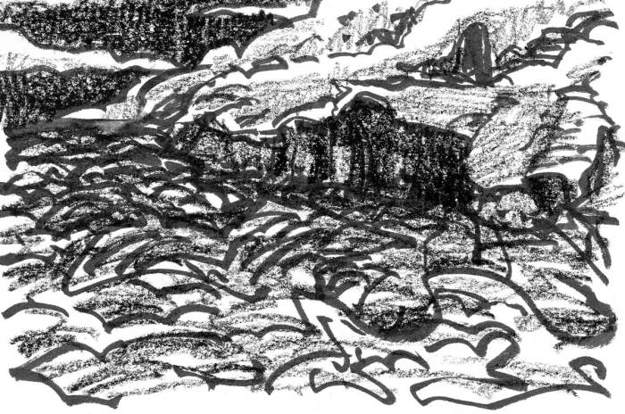 A sketch of a conceptual landscape in brush pen and crayon that includes a body of water in the foreground and cliffs where the land meets the water's edge.
