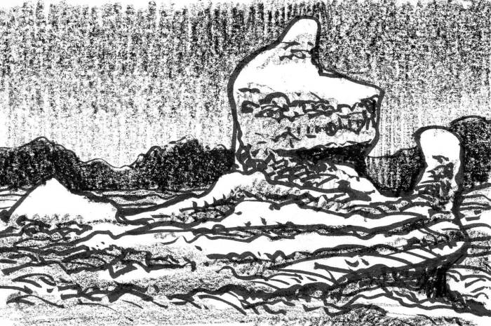 A sketch of a conceptual landscape with two organically shaped monoliths in the foreground and a distant mountain range in the background.