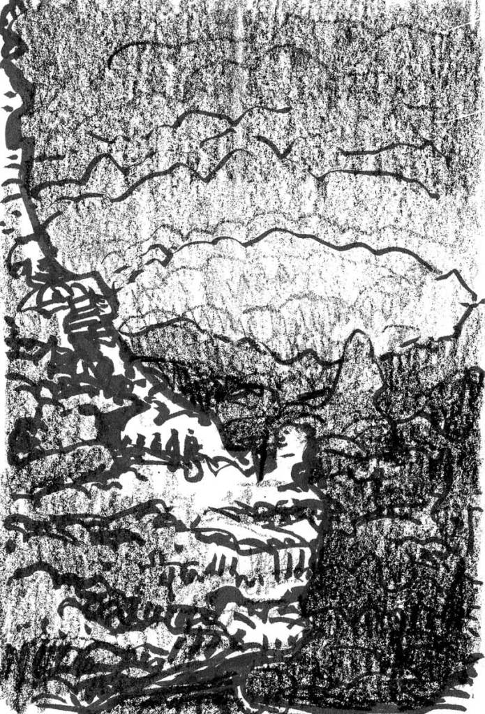 A conceptual landscape sketch with a rocky outcropping on the left side and an organically shaped mountain range in the background.