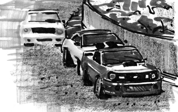 A marker sketch of classic race cars coming around a left-hand turn.