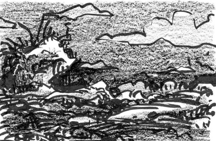 A conceptual landscape with low, rolling hills in front of a craggy rock formation. The sketch was drawn with a brush pen and crayon.