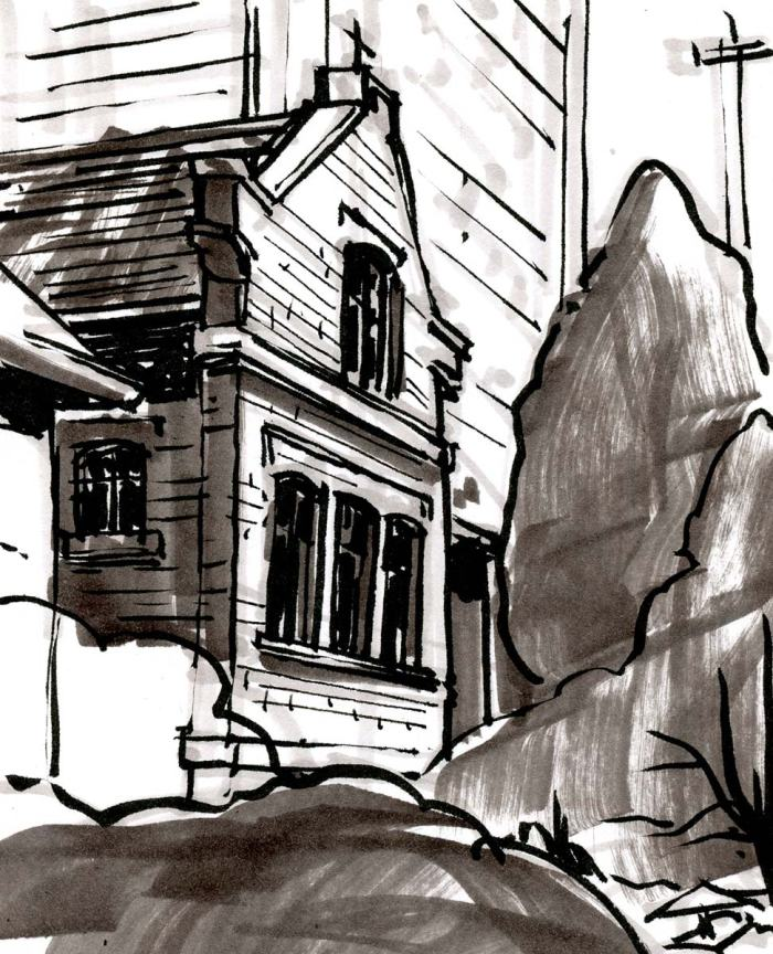 A marker and brush pen sketch of of a old church office building surrounded by trees.