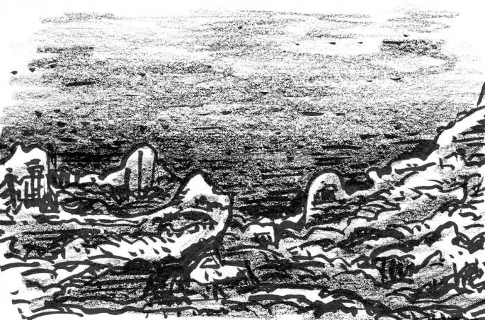 A conceptual sketch of a rocky landscape with brush pen and crayon.