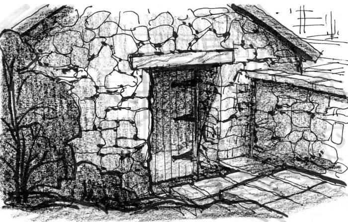 A sketch of a stone steps that lead down to a door on a historic stone building.