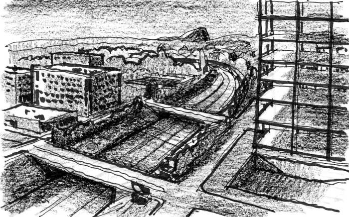 A sketch looking down on an urban landscape with a large building under construction on the right side and a freeway with two overpasses in the middle.