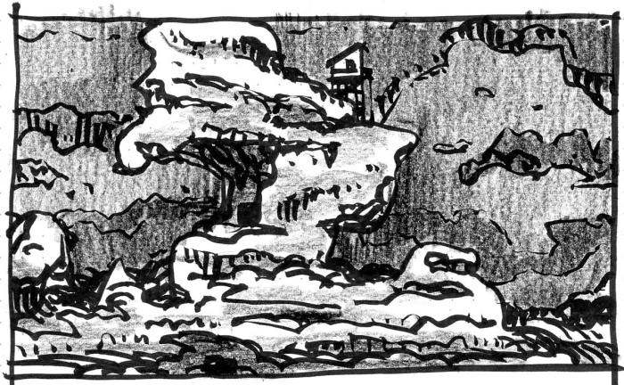 A conceptual landscape with a large, organically shaped rock formation in the foreground with a small cabin near the top.