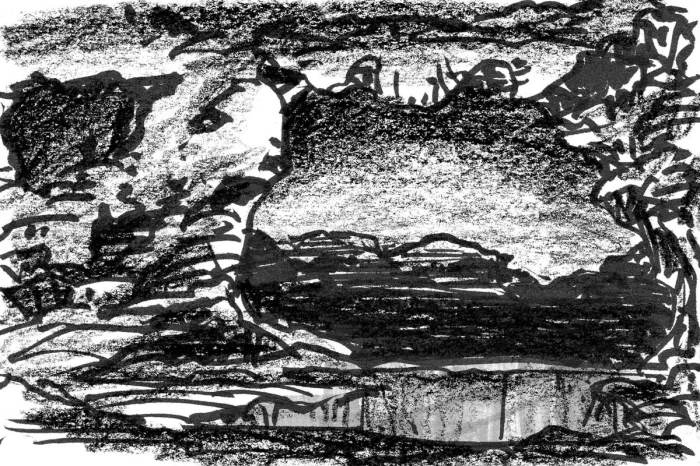 A conceptual landscape looking out of a cave with a pool of water near then entrance.