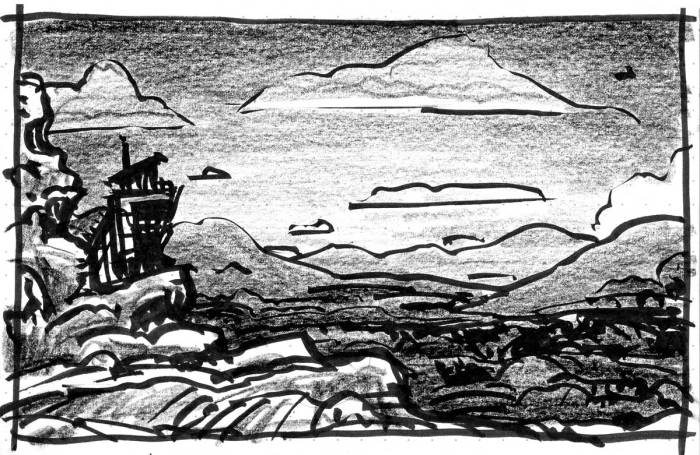 A conceptual landscape with a rocky outcropping on the left side with a building and a mountainous landscape in the background.