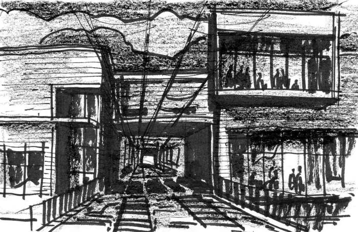 A sketch of a conceptual building with a tunnel that goes through it for a train.
