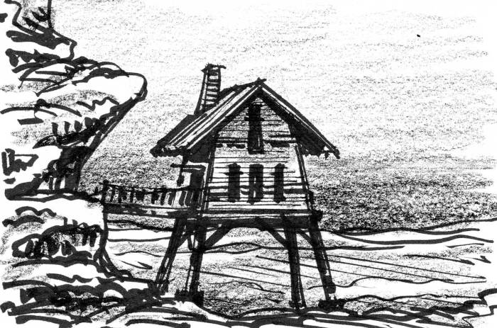 A conceptual sketch of an elevated cabin that is connected to a rock face by a bridge.