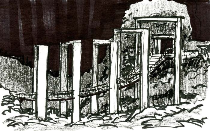 A conceptual sketch of a walking bridge rising from the lower left corner to a door in a rock face on the other side of the composition.