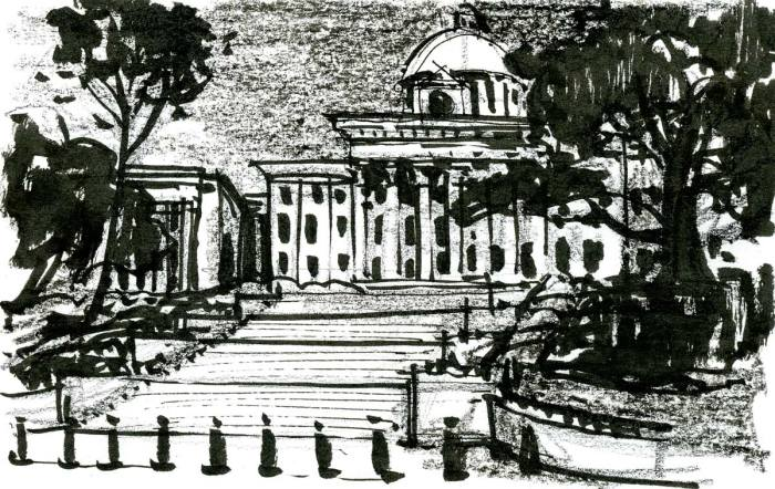 A sketch from the base of a monumental staircase below the state capitol building in Montgomery, Alabama.