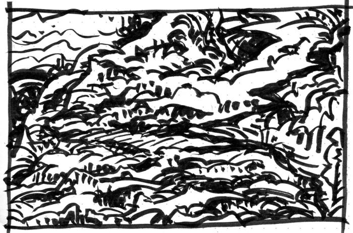 A loose brush pen sketch with random lines and marks that resembles a rough, mountainous landscape.
