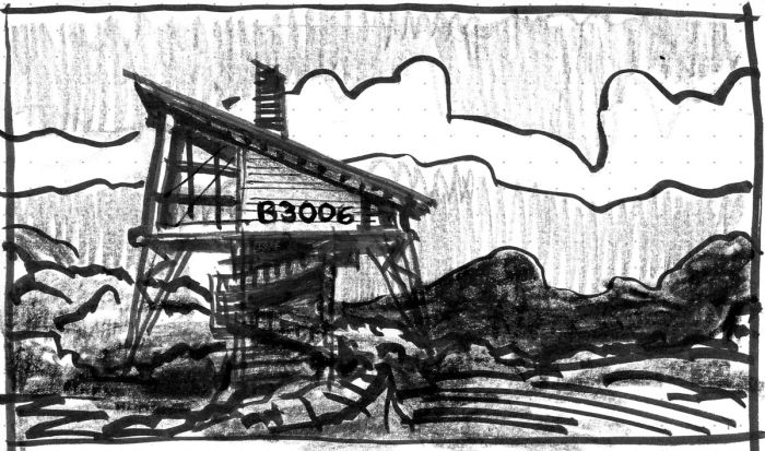A conceptual sketch of a building on stilts with a roof that slopes to the right, sitting in a rocky landscape.