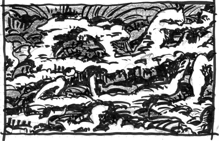 A loose sketch of a conceptual rocky landscape with an arched opening at the center.