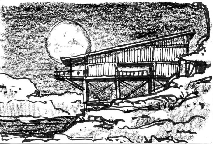 A conceptual sketch of a wedge shaped building between a rock face and a full moon.