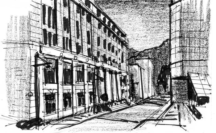 A sketch down a city street in Juneau, Alaska, with the State Capital building on the left side of the composition.