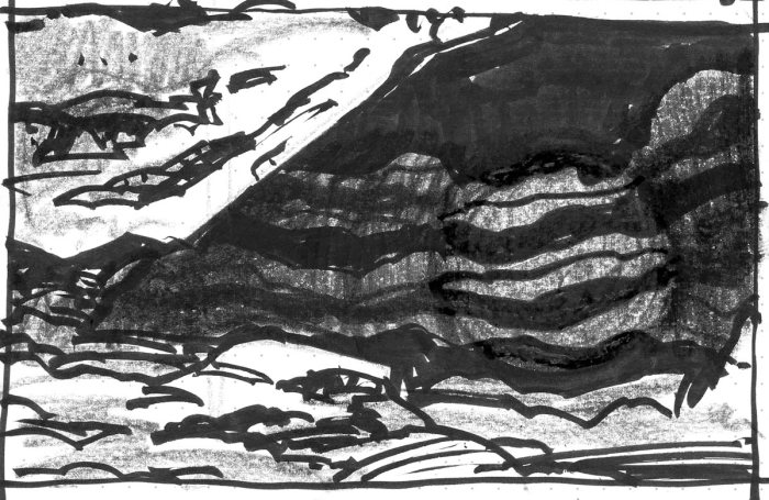 A conceptual landscape with an angling rocky overhang coming down the left side.