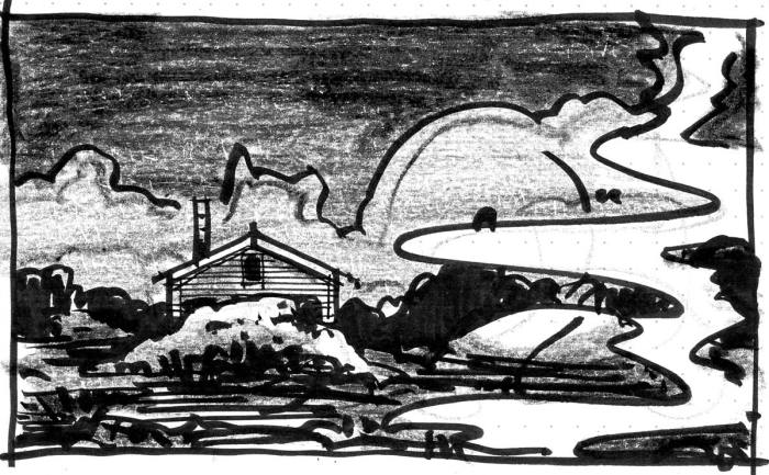 A conceptual landscape with a cabin nestled behind bushes.
