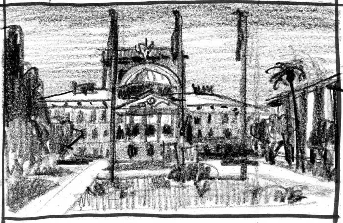 A loose crayon sketch of the front of the Arizona State Capitol building.