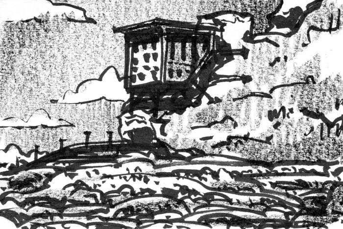 A sketch of a conceptual landscape with a building connected to a rock face.