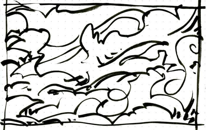 A loose brush pen sketch with random curved lines and marks.