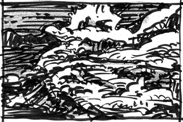 A pen and crayon sketch of a rocky landscape with a body of water on the left side.