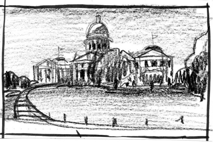 A loose crayon sketch of the Arkansas State Capitol Building.