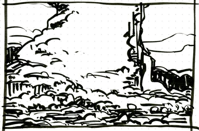 A conceptual landscape drawn with a brush pen that has a large formation that rises up in the center of the composition.