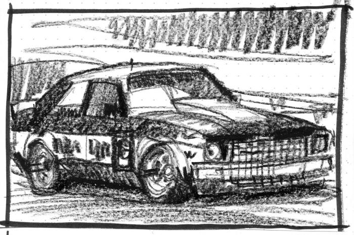 A loose crayon sketch of the Holden Torana A9X that John Bowe drives in the Touring Car Masters racing series.