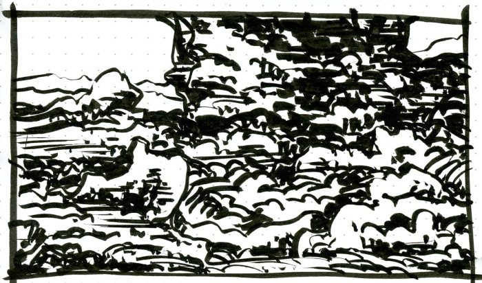A brush pen sketch of a rocky, wooded landscape with a larger rock formation in the background.