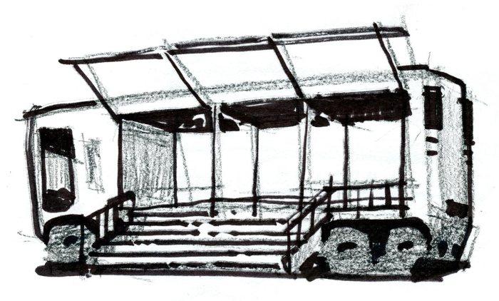 A pencil and marker sketch of a conceptual bus that opens up in the center for events.