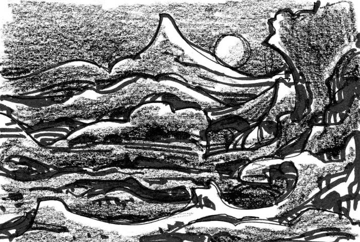 A sketch of a rolling, conceptual landscape with a mountain and moonrise in the background.