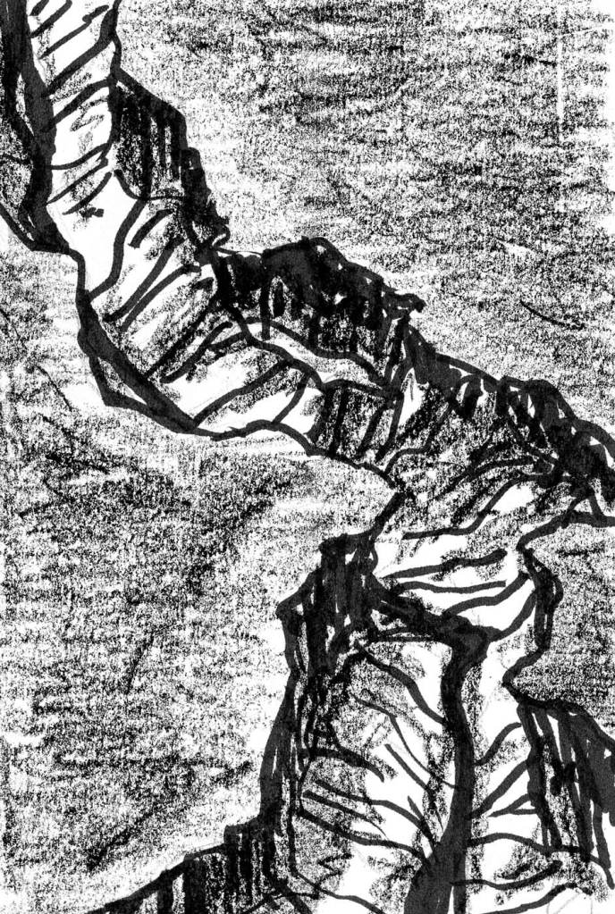 A aerial view sketch of a canyon running through a flat landscape.
