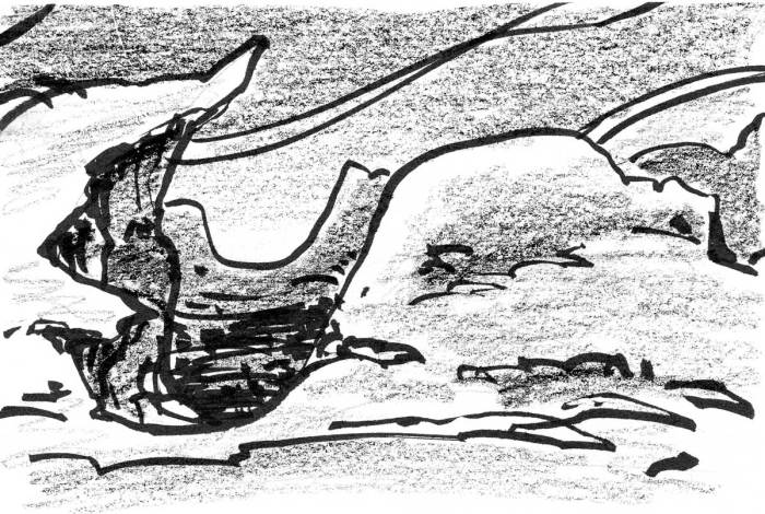 A conceptual landscape drawn of a hilly landscape, drawn with organic shapes and lines.