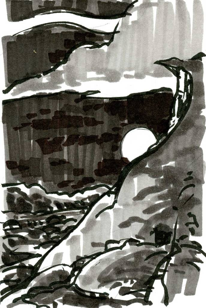 A marker sketch of a moon rising behind a rocky cliff.