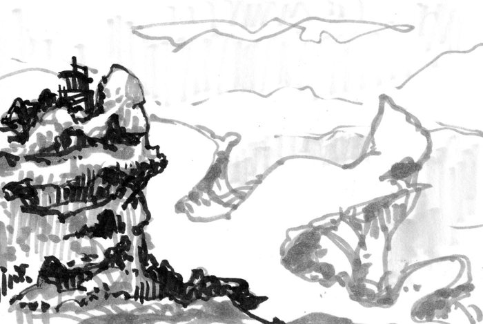 A marker sketch of a rocky landscape with a small dwelling on top of the hill on the left side.