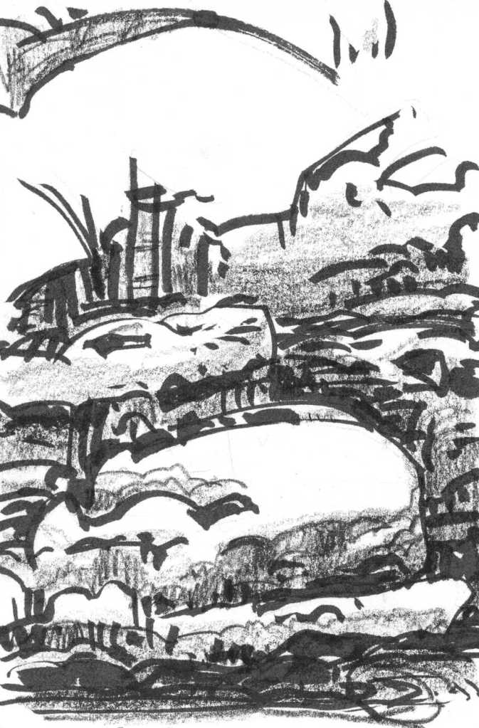 A conceptual landscape of large boulders rising from a body of water. The sketch was drawn with a black brush pen and crayon.