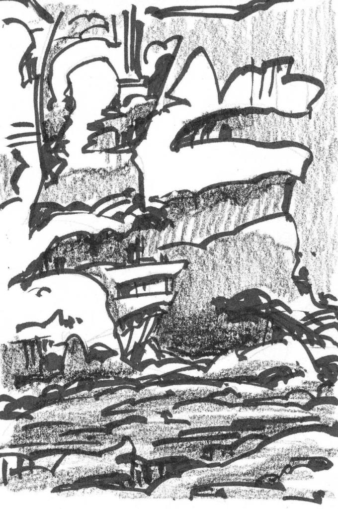 A conceptual landscape of cliffs rising out of the ground. The sketch was drawn with a black brush pen and crayon.