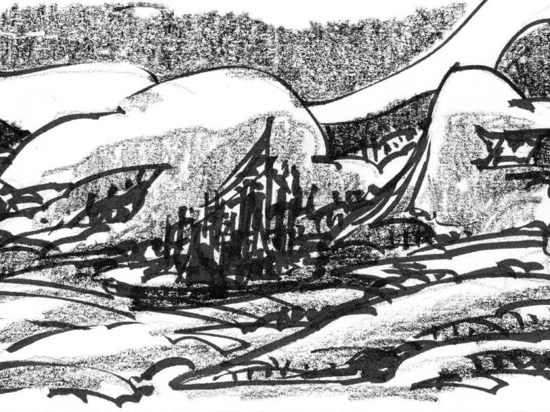 A sketch of a city in the midst of large land formations, drawn with brush pen and crayon.