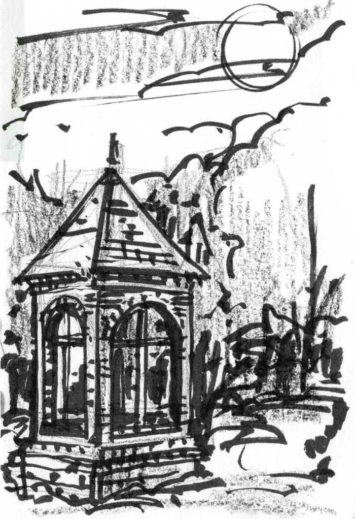 A sketch of a small structure with arched windows in the moonlight. The sketch was completed with brush pen, crayon, and pencil.