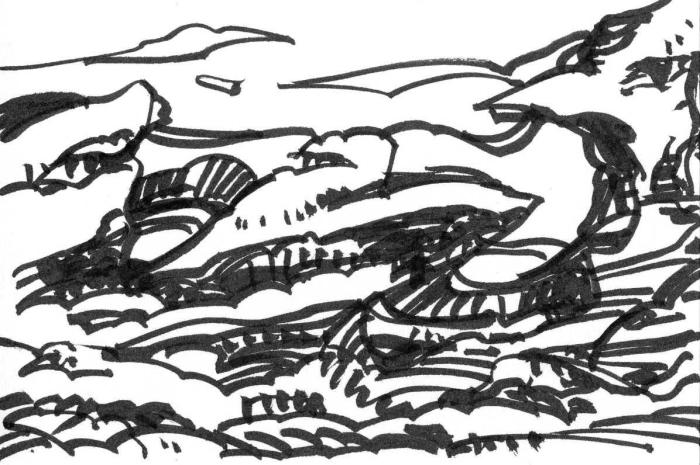 A jagged and rocky landscape drawn with a black brush pen.