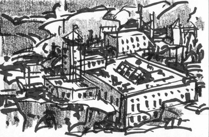 A pen and crayon sketch of a series of industrial buildings and a tower built into the side of a mountain.
