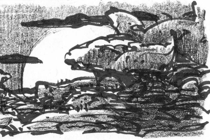 Pen and crayon sketch of a landscape with a large, cloud-shaped rock formation peeking out from the right side.